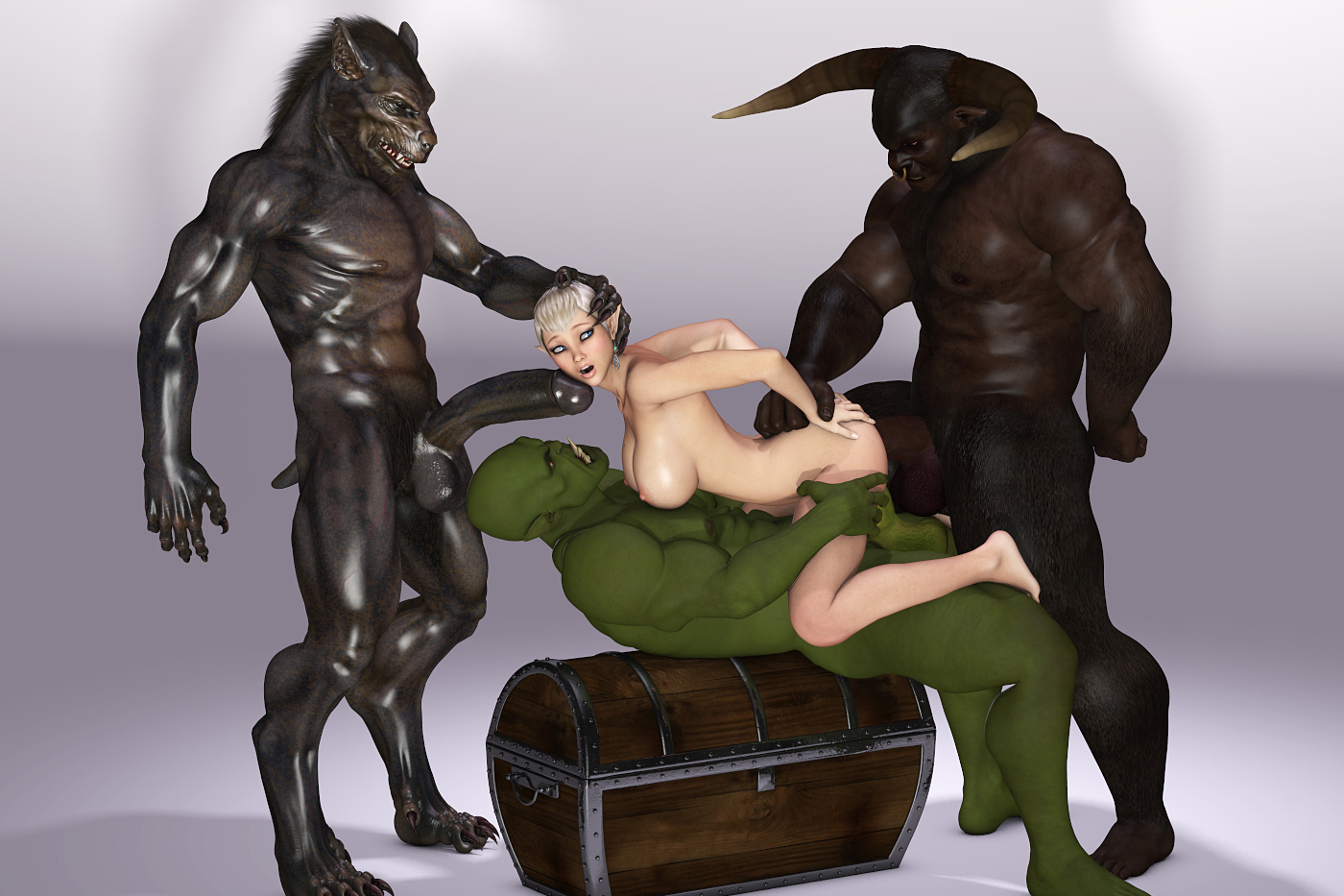Busty hentai gangbang monsters elf sex pic