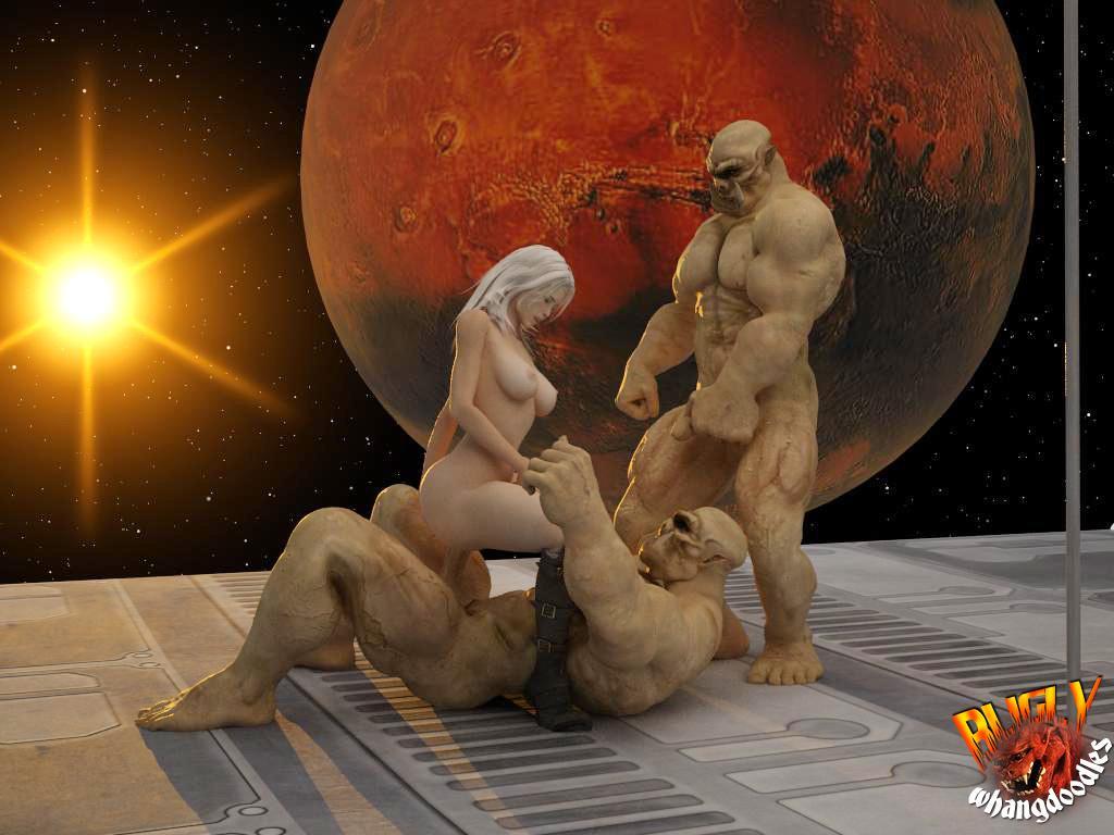 Порно картинки секса двух мускулистых инопланетян с блондинистой