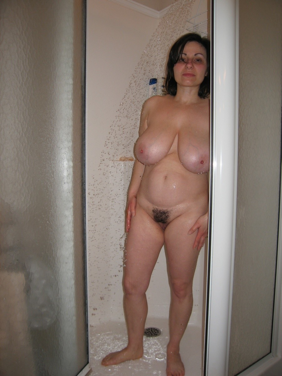 Naked mother in shower