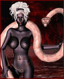 Lovely women and giant monster snakes