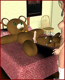 Teen girl fucks with big Teddy bear