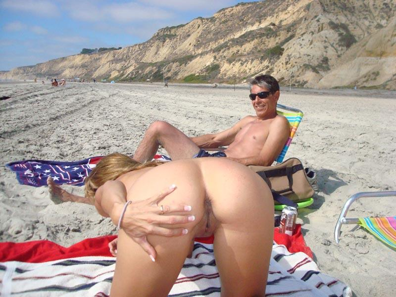 Nude wives on beach