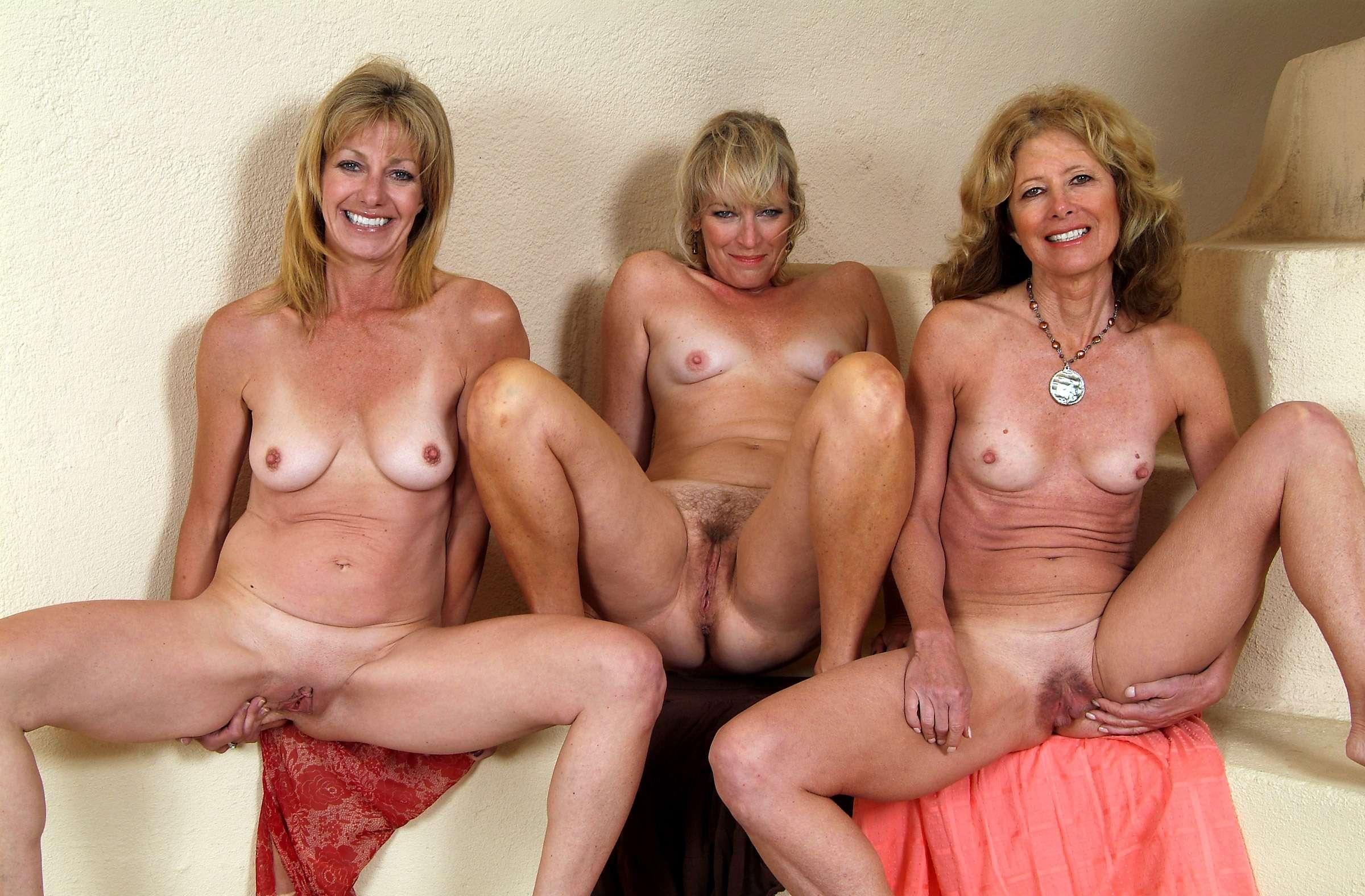 Lesbian group sex with three mature mothers