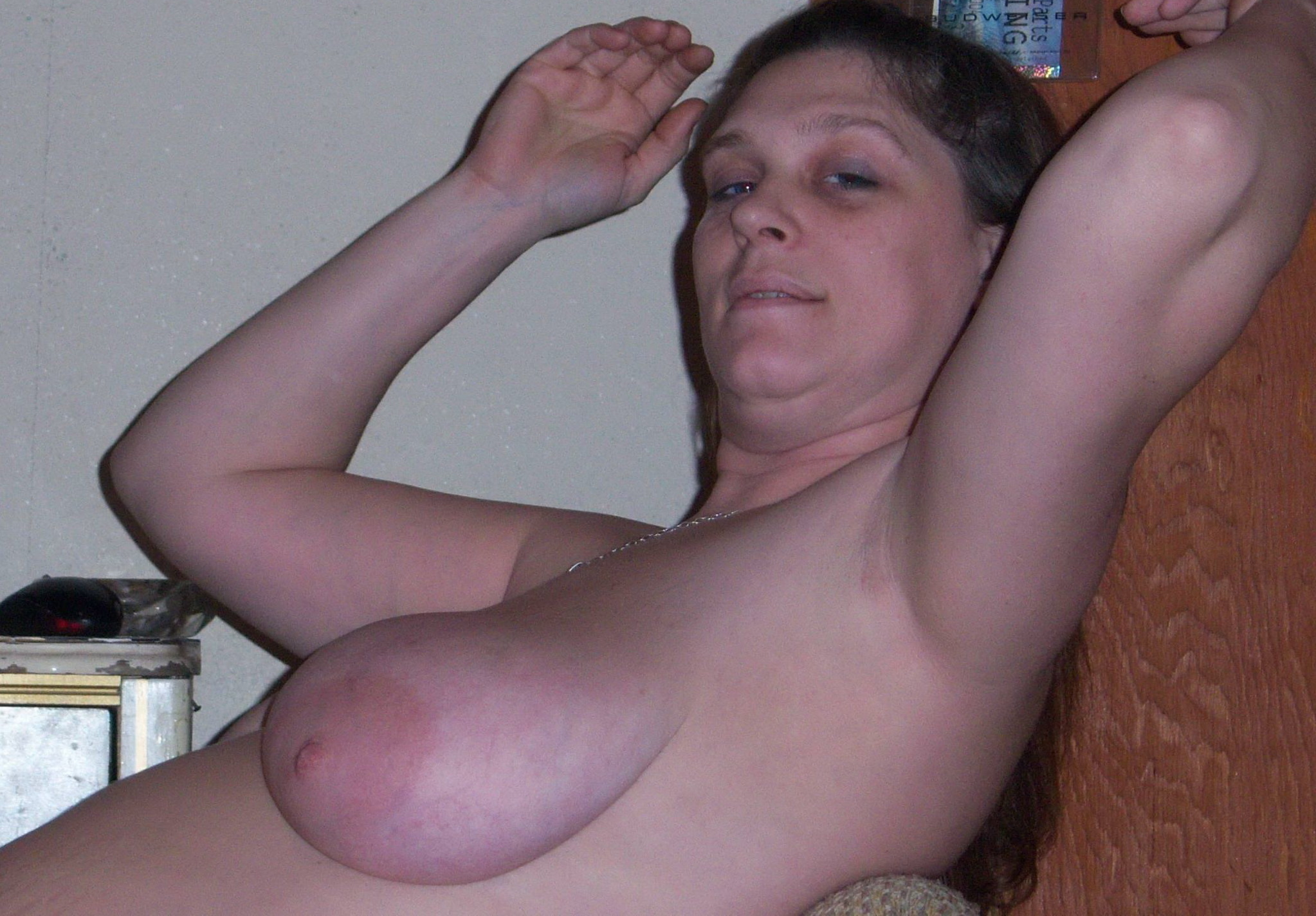 Dark haired shaven pussy